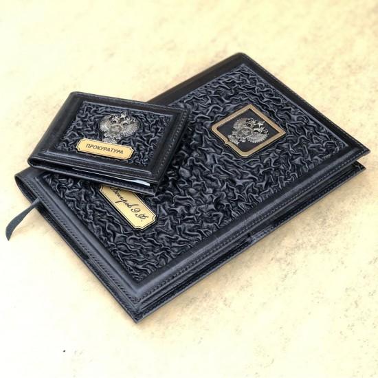 Подарочный комплект ручной работы (кожаные изделия) «Служба» бронзовая символика (возможна персонализация изделий)