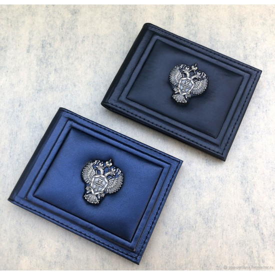 """Кожаная обложка на удостоверение ручной работы """"Лунный свет Black"""" символика из бронзы (возможна персонализация изделия)"""