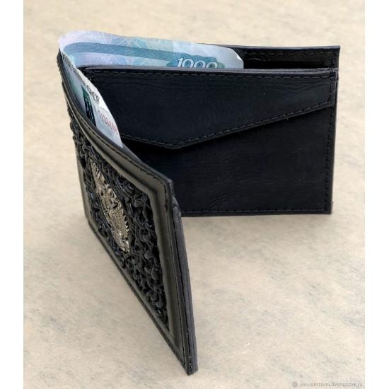 """Кожаный кошелек ручной работы """"Балтимор"""" герб из бронзы (возможна персонализация изделия)"""