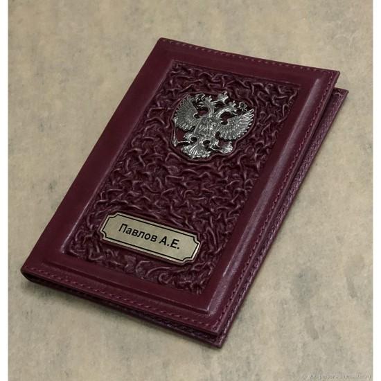 Кожаная обложка на паспорт ручной работы «Италия» герб из бронзы (возможна персонализация изделия)