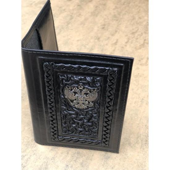 Кожаная обложка на паспорт ручной работы «Гармония» герб из бронзы (возможна персонализация изделия)