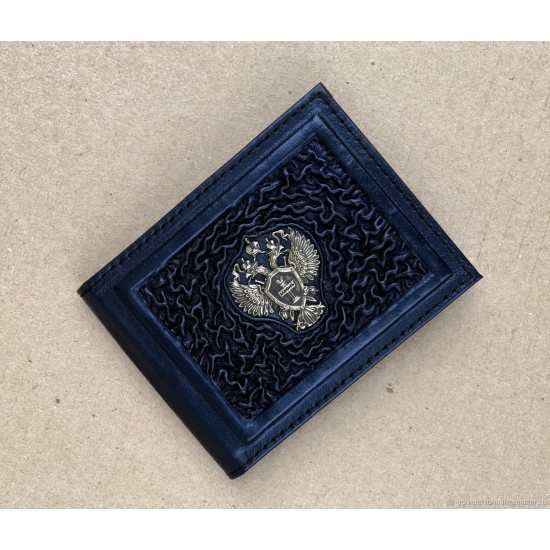 """Кожаная обложка на удостоверение ручной работы """"Прокуратура"""" символика из бронзы (возможна персонализация изделия)"""