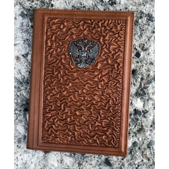 """Кожаный ежедневник ручной работы """"Римини"""" герб из бронзы (возможна персонализация изделия)"""