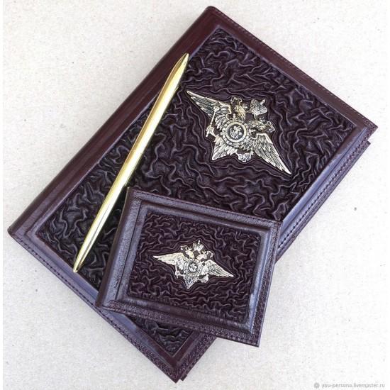Подарочный комплект ручной работы (кожаные изделия) «Законность» бронзовая символика (возможна персонализация изделий)