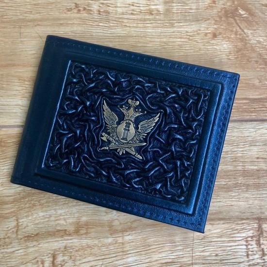 """Кожаная обложка на удостоверение ручной работы """"ФСИН Охрана"""" символика из бронзы (возможна персонализация изделия)"""