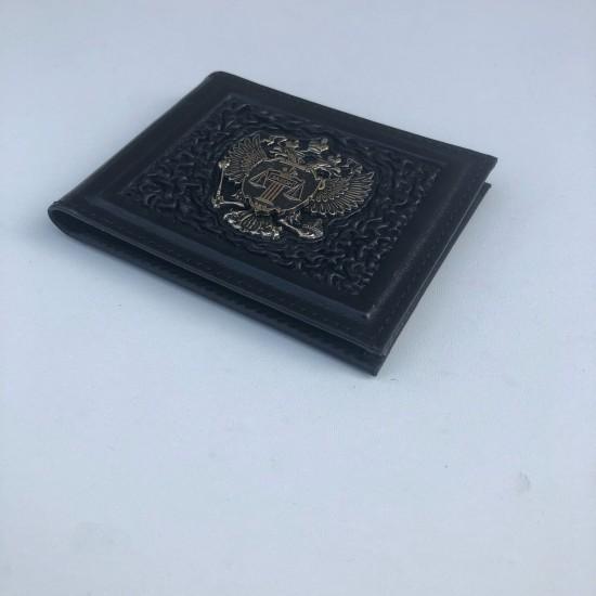 """Кожаная обложка на удостоверение ручной работы """"Судья"""" герб из бронзы (возможна персонализация изделия)"""