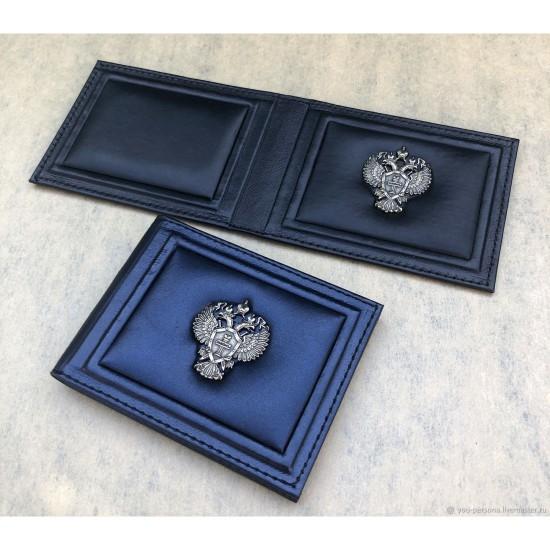 """Кожаная обложка на удостоверение ручной работы """"Лунный свет Blue"""" символика из бронзы (возможна персонализация изделия)"""