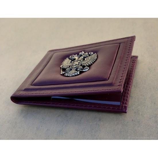 """Кожаная обложка на удостоверение ручной работы """"Лион"""" герб из бронзы (возможна персонализация изделия)"""