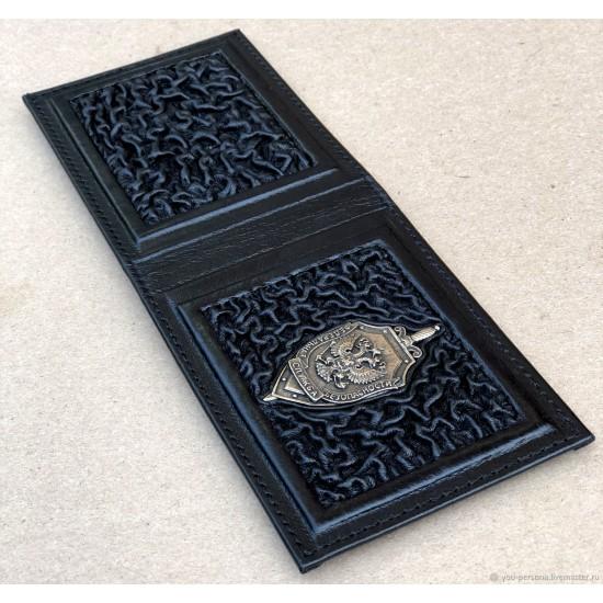 """Кожаная обложка на удостоверение ручной работы """"ФСБ Когорта Black"""" символика из бронзы (возможна персонализация изделия)"""