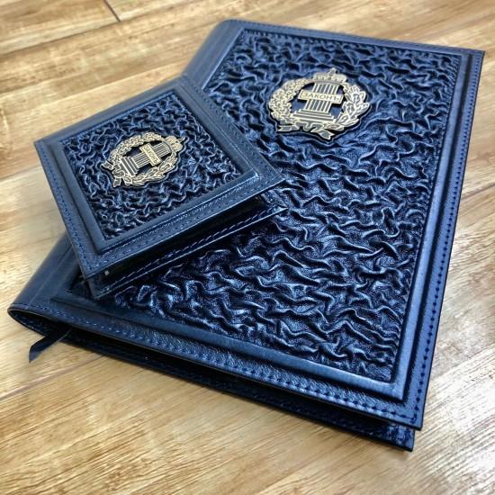 Подарочный комплект ручной работы (кожаные изделия) «Закон и порядок» бронзовая символика (возможна персонализация изделий)