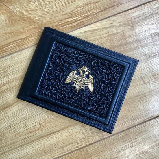 """Кожаная обложка на удостоверение ручной работы """"Росгвардия Валенсия Black"""" символика из бронзы (возможна персонализация изделия)"""